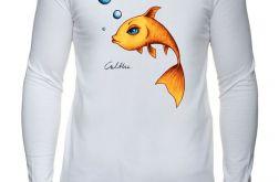 Złota rybka - rękaw - męska biała