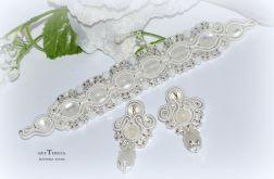 biżuteria ślubna sutasz biały i srebrny