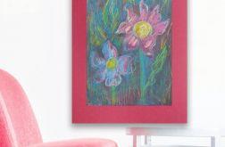 Rysunek z kwiatami na bordowym tle nr 3