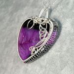 Srebrny wisior z Agatem w kształcie serca - Liquid Love, heart-shaped sterling silver pendant with Agate gift for her, gift for mom, handcrafted jewelry, Valentines day