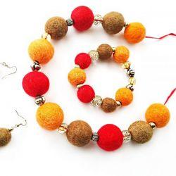 Komplet z filcu pomarańcz brąz czerwień
