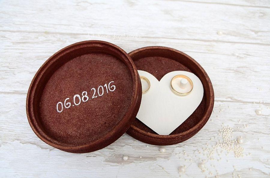 Okrągłe pudełko na obrączki AMBRE RUSTIC