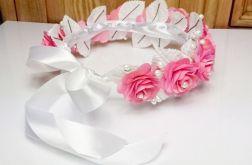 Wianek ślubny komunijny biało różowy