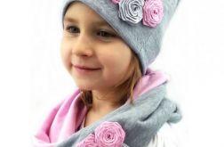 Czapka i komin szaro - różowy komplet