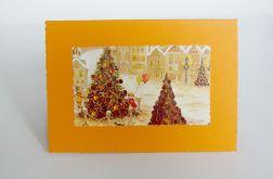 Kartka świąteczna oranż  z choinkami 1