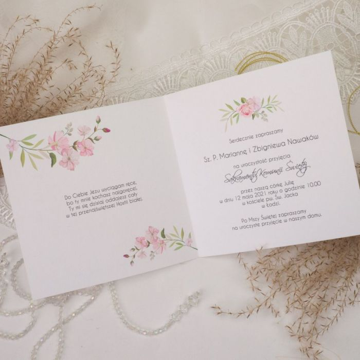 Zaproszenia na komunię, chrzest - kwiaty2 - kwiatowe zaproszenia, zaproszenia z wiankiem