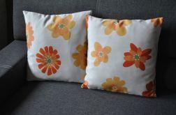 Poszewka - pomarańczowe energetyczne kwiaty
