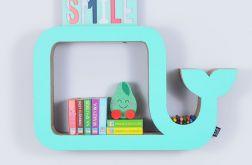 Półka na książki WIELORYB | mięta