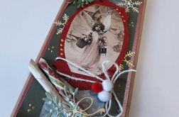 Kartka świąteczna, vintage, anioł
