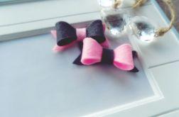 spineczki kokardki 2 szt. grafitowo-różowe