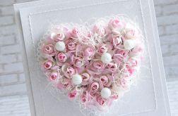 Różane serce w perłach na ślub