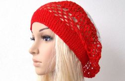wiosenno-letni ażurowy beret biało-czerwony