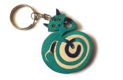 Breloczek malowany Kotek - zieleń morska +