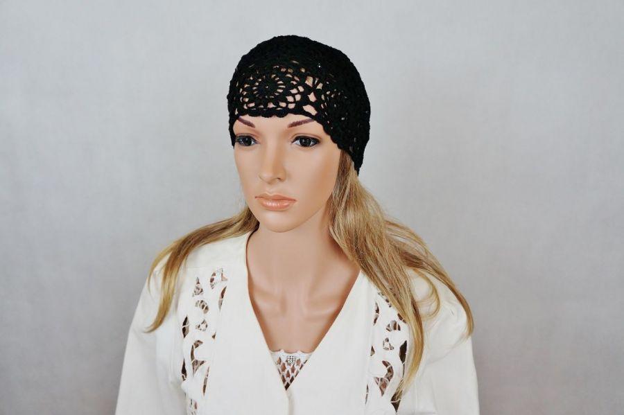 Czapka Lady eL czarna - czapka szydełkowa