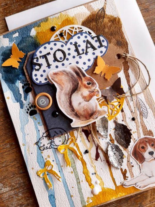 Leśna kartka dla miłośnika zwierząt - Detal2