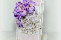 Kartka z okazji ślubu w fioletach