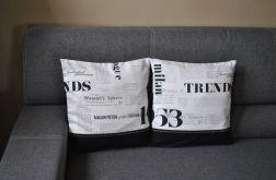 Poszewka dekoracyjna - czarno-biała gazeta