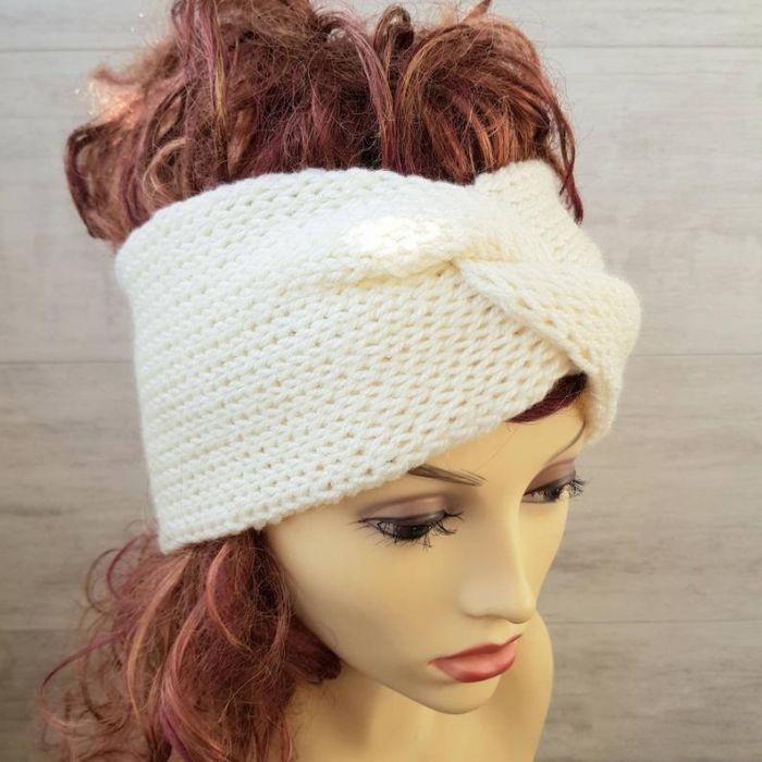 Opaska zimowa turban śnieżna biel