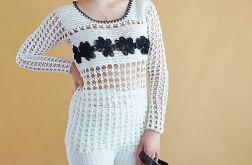 Bluzka szydełkowa biało-czarna