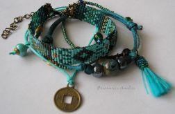 turquoise komplet bransoletek boho