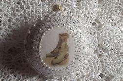 Bombka medalion, łyżwy, vintage