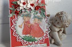 Kartka świąteczna z aniołkami