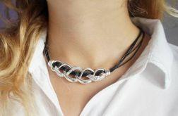 Naszyjnik sznurek srebro cyrkonie