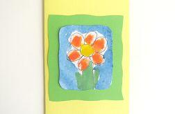 Kartka żółta z kwiatkiem 17