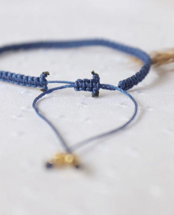 Niebieska pleciona bransoletka Relva - Bransoletka na nadgarstek regulowana