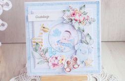 Kartka na Chrzest 3D BabyJoy niebieska GOTOWA