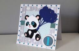 Kartka na Roczek miś panda