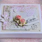 Kartka  w pudełku Pudrowy Róż - Pamiątka ślubu
