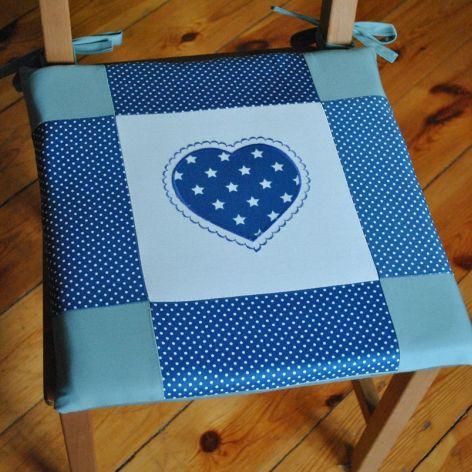 Poduszki na krzesła,siedziska - niebieskie - 4szt