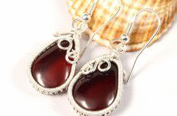 Srebrne kolczyki z bursztynem bałtyckim