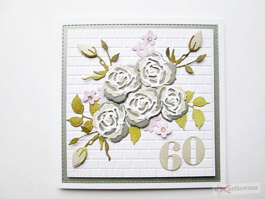 Kartka URODZINOWA z bukietem róż - Kartka Urodzinowa z bukietem róż