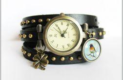 Bransoletka, zegarek - Kolorowy ptak - czarny, nity, skórzany