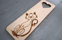 zakładka wypalana z kotem drewniana