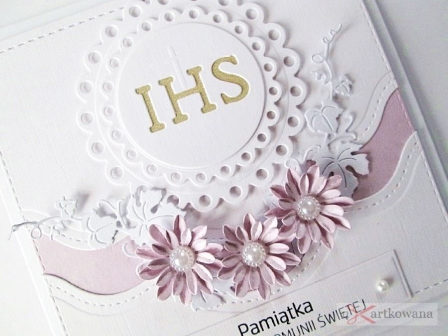 Kartka PAMIĄTKA I KOMUNII z Hostią #1/ Z - Biało-różowa kartka na Komunię w pudełku