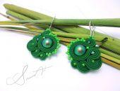 """Kolczyki sutasz, soutache """"Green Pearls"""""""