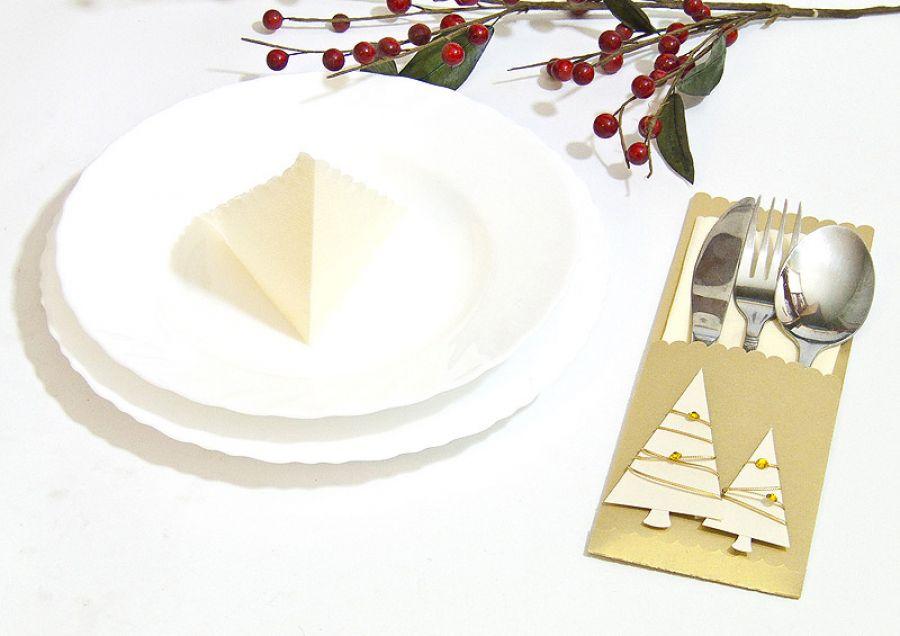 Etui na sztućce Boże Narodzenie - choinki
