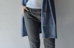 Kardigan damski oversize jasny jeans