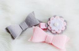 FairyBows spinki 3 szt. kokardki + kwiatek