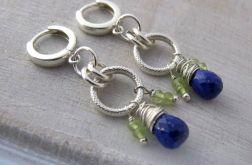 Długie kolczyki z lapis lazuli i peridotem