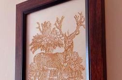 13A. Obraz Drzeworyt Jeleń(258x197)mm