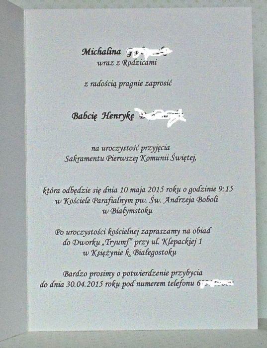Zaproszenie na I Komunię Św. w bieli #5