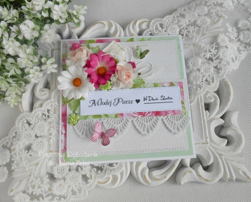 Ślubna kartka w pudełku z okienkiem 30