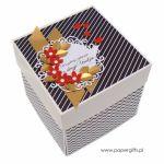 Box na urodziny z tortem złoto-czerwono-czarny - Pudełko z miejscem na prezent urodzinowy