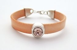Simple leather z kryształkiem łososiowa