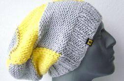czapka w kratę szaro-żółtą unisex