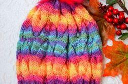 Ciepła czapka kolorowa z warkoczem